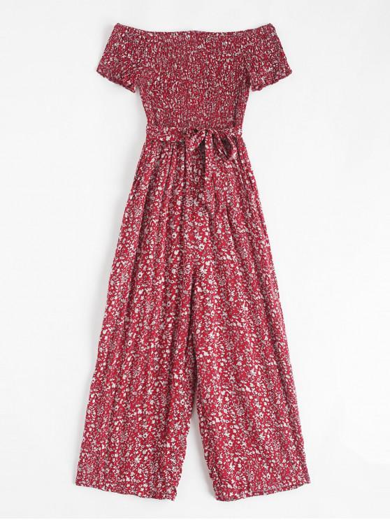Combinaison ample à ceinture et à épaules dénudées - Rouge Vineux XL