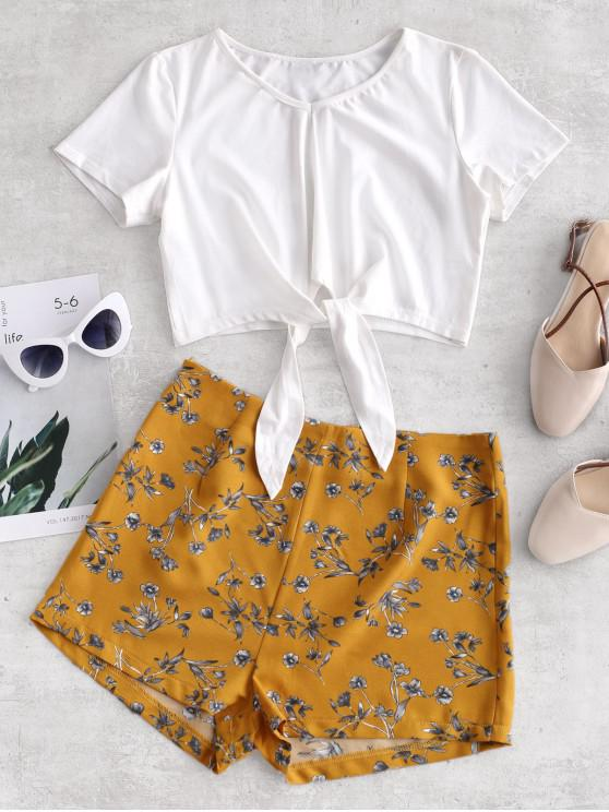 fashion ZAFUL Tie Hem V Neck Floral Shorts Set - MILK WHITE M