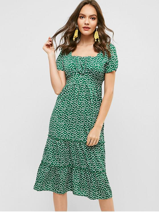 ladies Ruched Smocked Back Floral Midi Dress - GREEN S