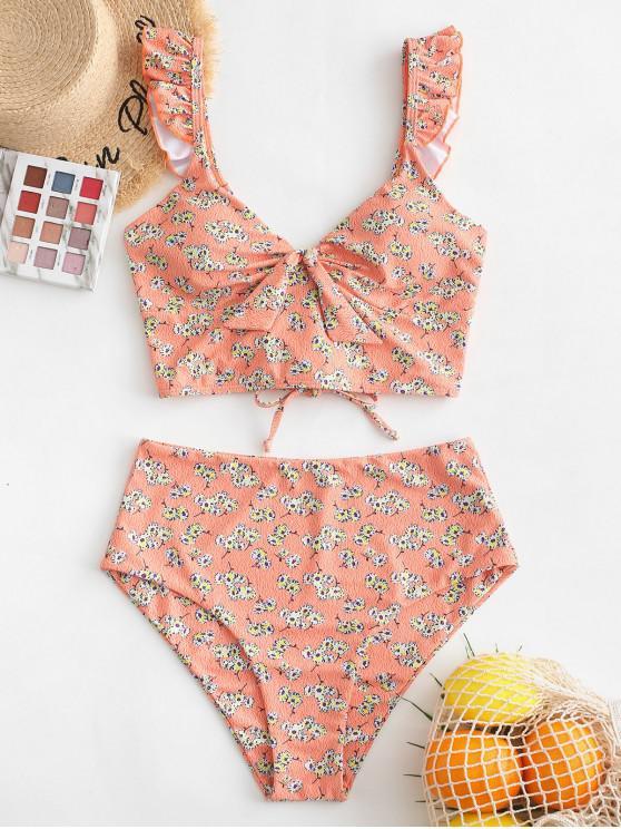 women's ZAFUL Ditsy Print Ruffle Lace Up Tankini Swimsuit - MULTI-A XL