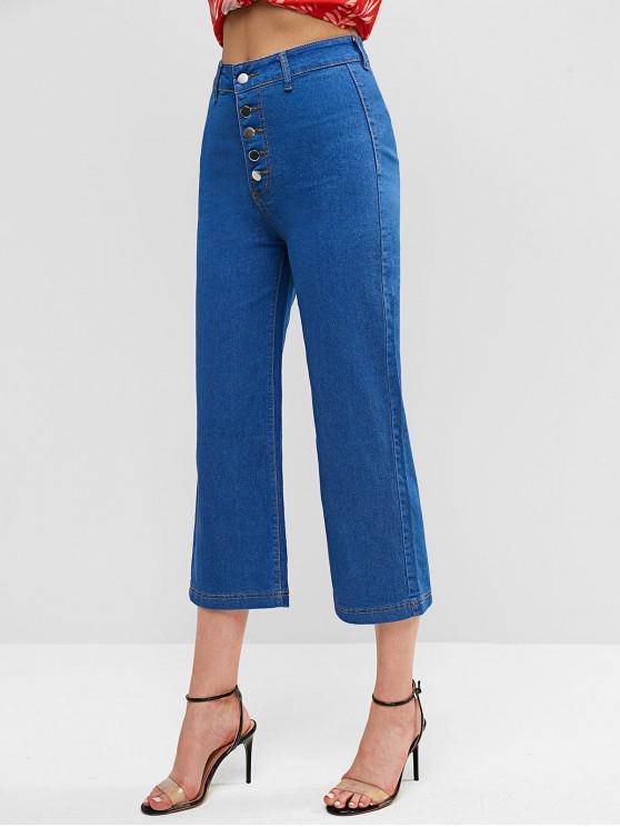 hot Button Fly High Waisted Plain Wide Leg Jeans - DENIM DARK BLUE S