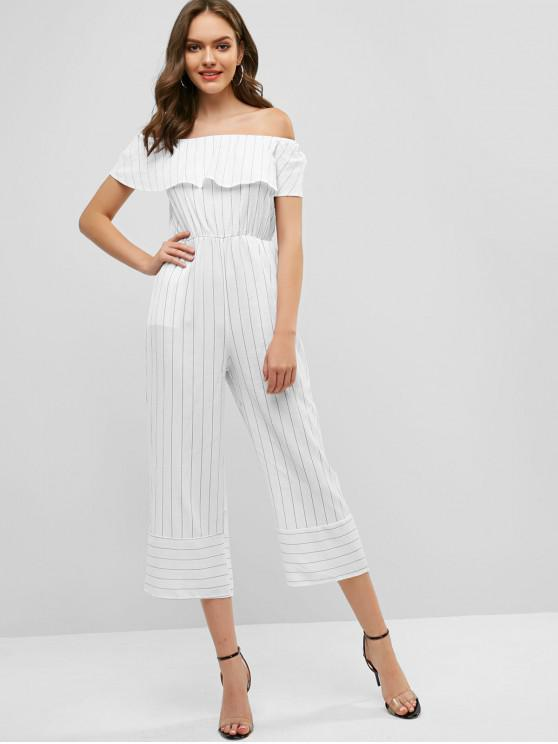 buy Flounce Off Shoulder Pinstriped Pocket Jumpsuit - WHITE M