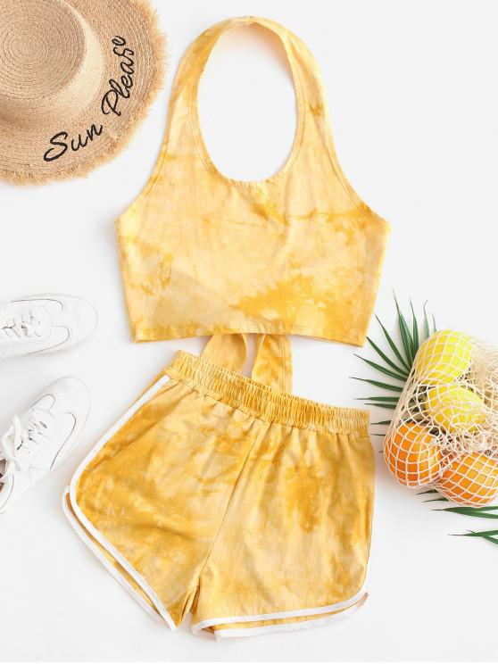 trendy Backless Tie Dye Halter Two Pieces Suit - YELLOW M