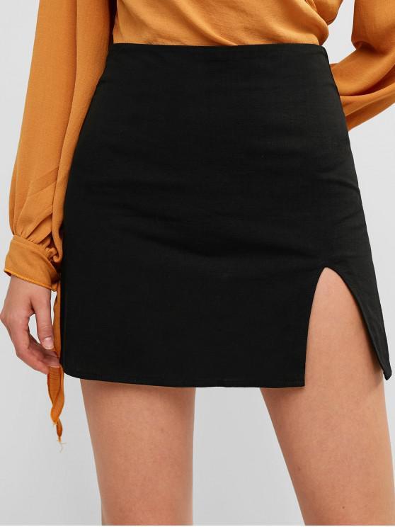 women's Slit Mini A Line Skirt - BLACK S