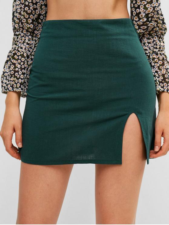 lady Slit Mini A Line Skirt - GREEN S