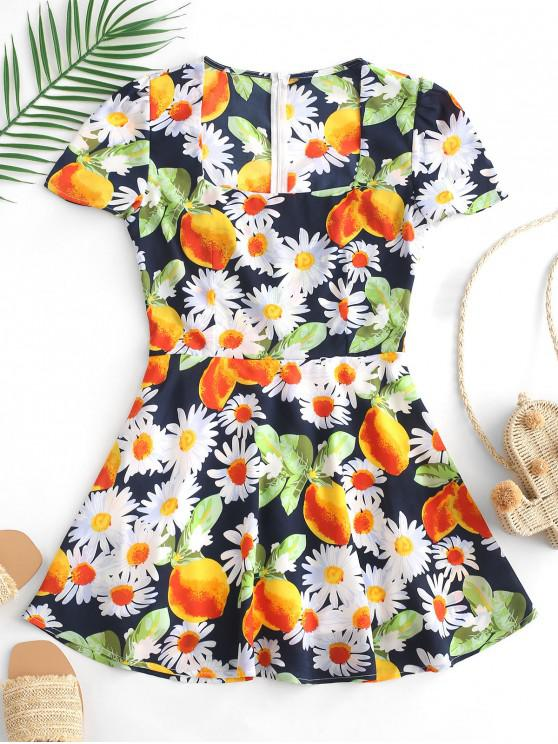 lady ZAFUL Flower Lemon Print Mini A Line Dress - MULTI M