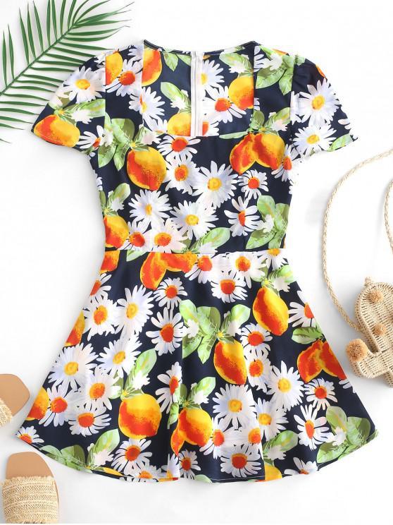 affordable ZAFUL Flower Lemon Print Mini A Line Dress - MULTI L
