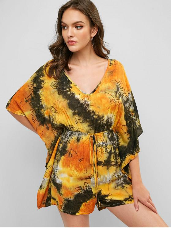 trendy Knotted Floral Tie Dye Cape Romper - MULTI-A S