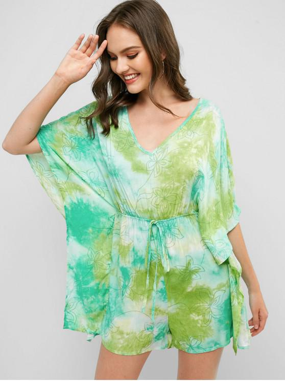 chic Knotted Floral Tie Dye Cape Romper - MULTI-B S