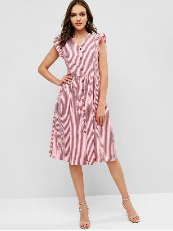 shops Ruffles Stripes Button Up Casual Dress - CHERRY RED M