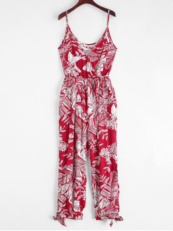 shop Leaves Print Slit Knotted Belted Cami Jumpsuit - RED M