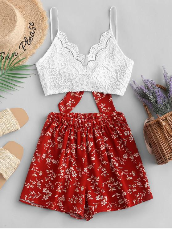 hot ZAFUL Floral Print Lace Panel Cami Shorts Set - RED S