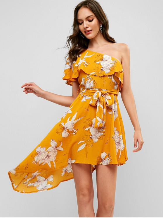 lady Flounce Floral Asymmetrical One Shoulder Dress - YELLOW S