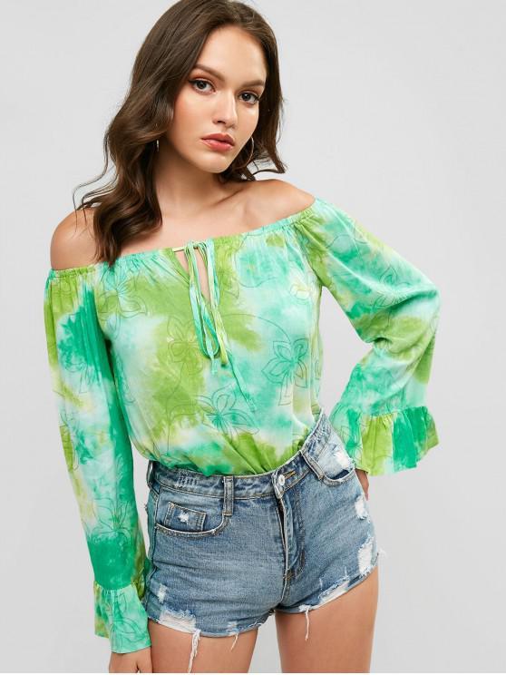 Fuera del hombro atado floral Tie Dye Blusa - Multicolor-A S