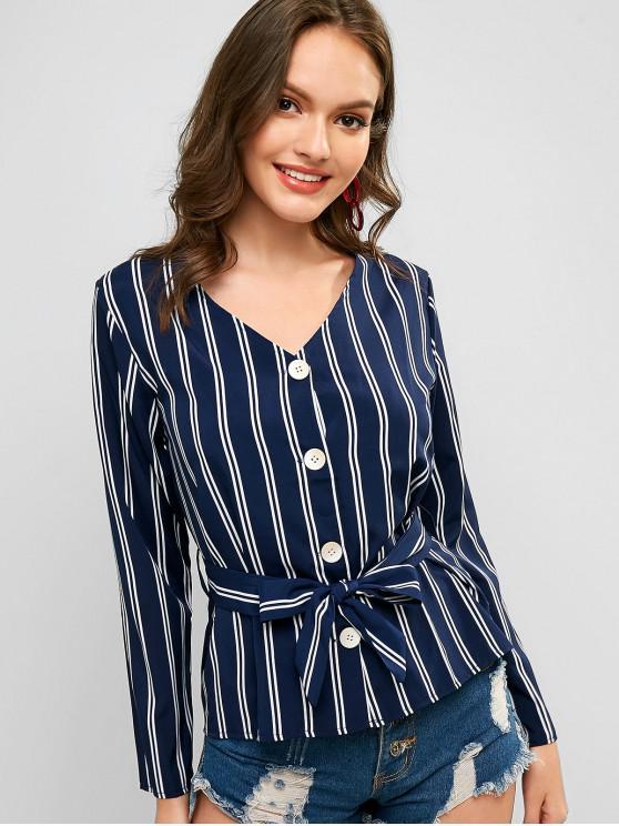 Rayas con cinturón botón arriba con falda - Azul de Medianoche M