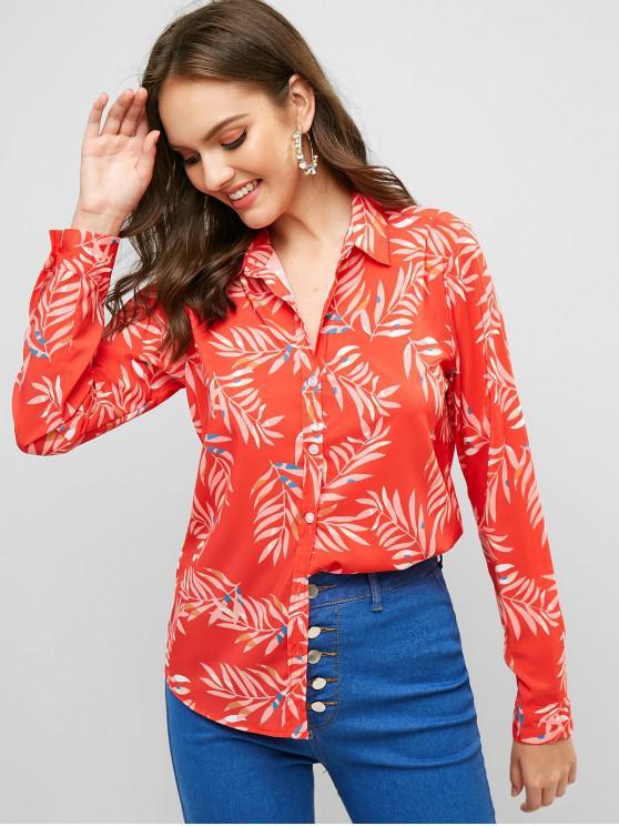 يترك طباعة زرر قميص طويل الأكمام - كستنائي أحمر L