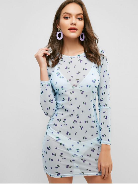 Minivestido ajustado con estampado de cerezas y malla transparente - Azul M