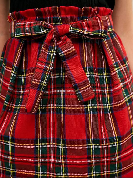 À Mini Paperbag Carreaux Rouge Jupe M CeinturéeChâtaigne E9DHI2W