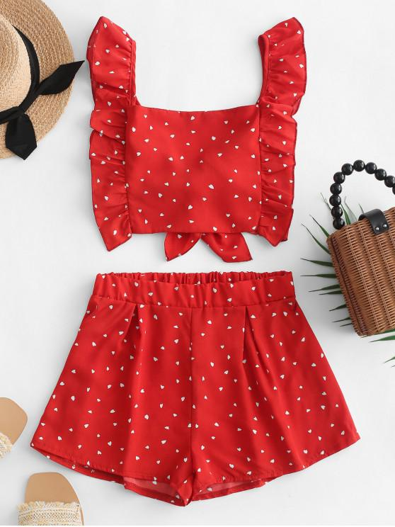fancy Knotted Back Heart Print Wide Leg Shorts Set - RED S