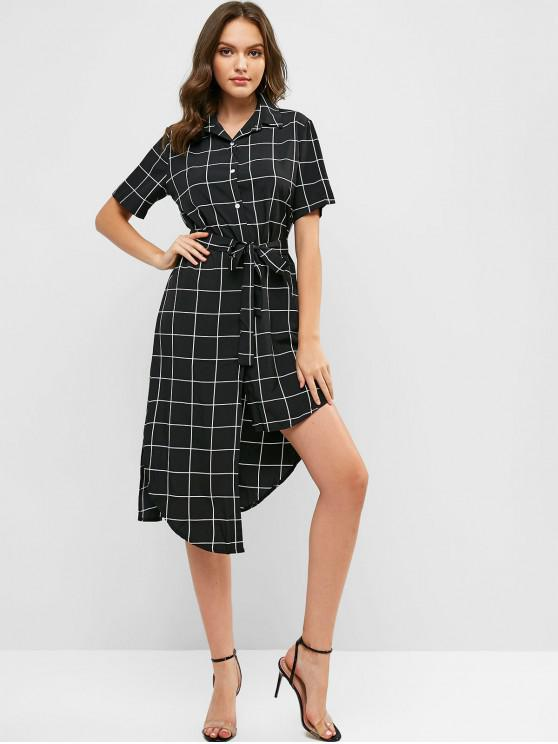 unique Belted Checked Asymmetrical Shirt Dress - BLACK M