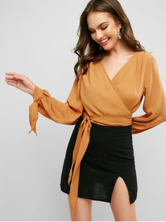 online ZAFUL Tied Sleeve Cropped Wrap Blouse - BEE YELLOW S