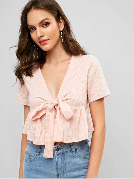 lady Ruffle Hem Tie Front Solid Crop Blouse - ROSE S