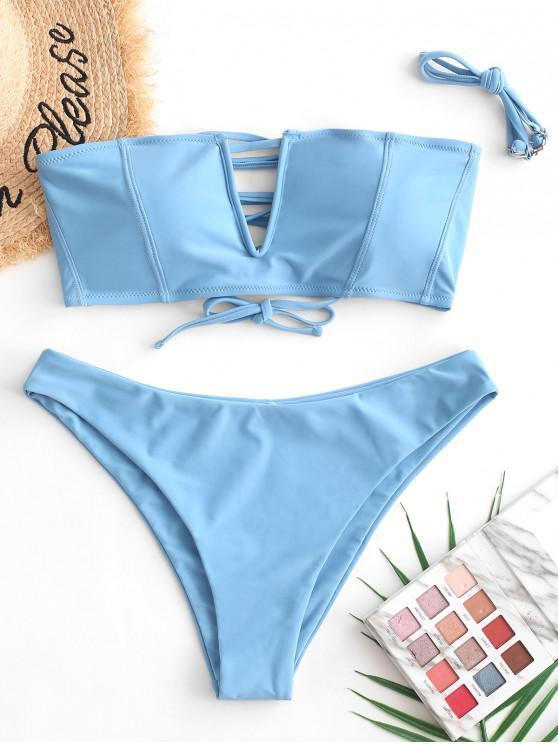 ZAFUL Bikini de Bandeau con Cordones en V - Azul de Seda S