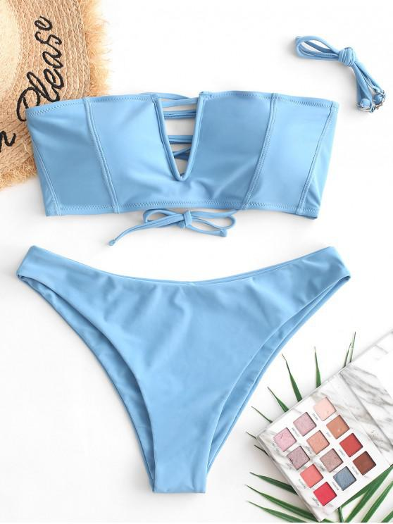 hot ZAFUL V-wired Lace-up Topstitching Bandeau Bikini Swimsuit - SILK BLUE L
