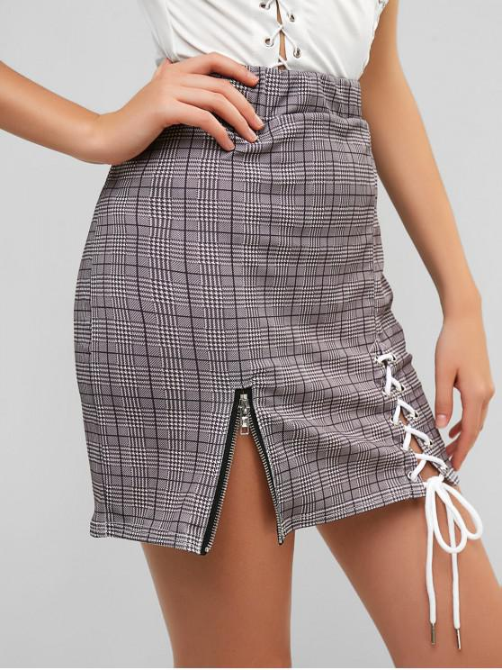 outfits Houndstooth Lace Up Zipper Embellished Skirt - GRAY M