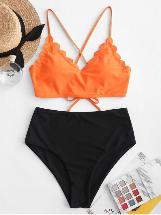 womens ZAFUL Scalloped Lace Up Color Block Tankini Swimsuit - ORANGE 2XL