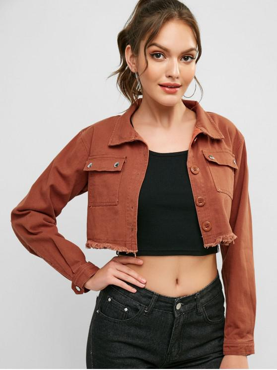 fashion Pockets Frayed Hem Crop Denim Jacket - ORANGE SALMON M
