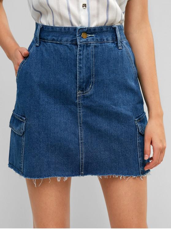 online Frayed Flap Pockets Denim Mini Skirt - DENIM DARK BLUE L