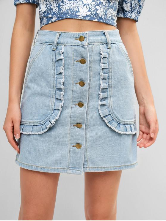 unique Ruffles Button Up Denim Mini Skirt - JEANS BLUE M