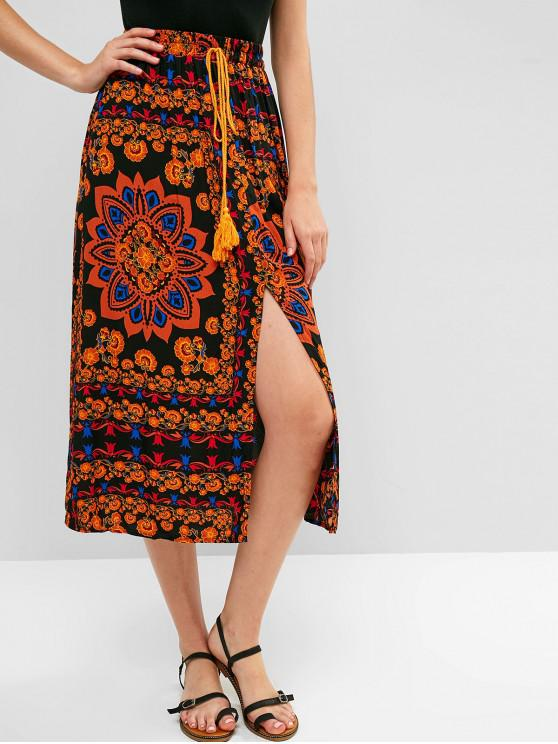 shop ZAFUL Floral Slit Tassels Midi Skirt - MULTI M