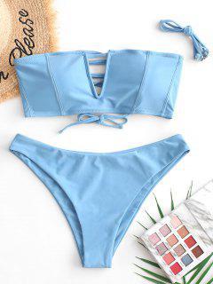 ZAFUL Maillot De Bain Bikini Bandeau à Armature En V à Lacets - Bleu De Soie S