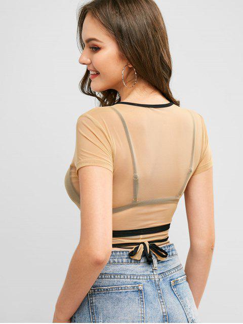 Camiseta de malla recubierta con ribete en contraste - Caramelo S Mobile