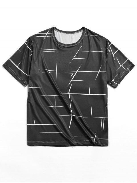 T-shirt Décontracté Ligne Géométrique Imprimée à Col Rond - Noir M Mobile
