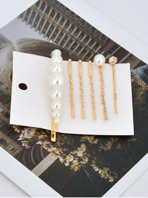 affordable Chic Faux Pearl Alloy Hairpins Set - GOLD  Mobile