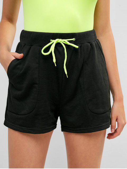 Pantalones cortos con cordón de cintura alta Shorts deportivos - Negro S Mobile