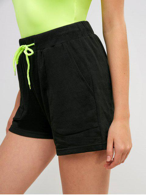chic High Waisted Drawstring Pockets Sports Shorts - BLACK L Mobile
