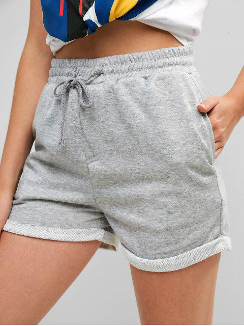 Pantalones cortos de sudor con cordón - Gris Claro M Mobile
