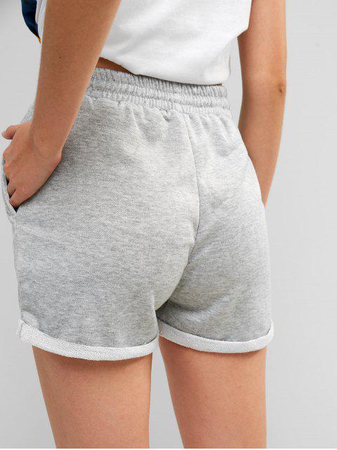 Pantalones cortos de sudor con cordón - Gris Claro L Mobile