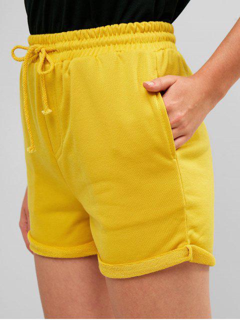 Pantalones cortos de sudor con cordón - Amarillo S Mobile