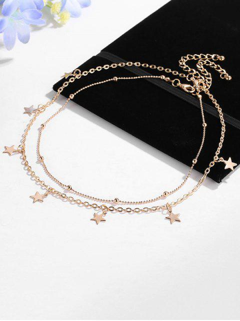 latest Multilayered Star Pendant Choker Necklace - GOLD  Mobile
