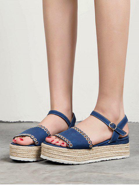 shop Platform Straw Weaving Sandals - DEEP BLUE EU 38 Mobile