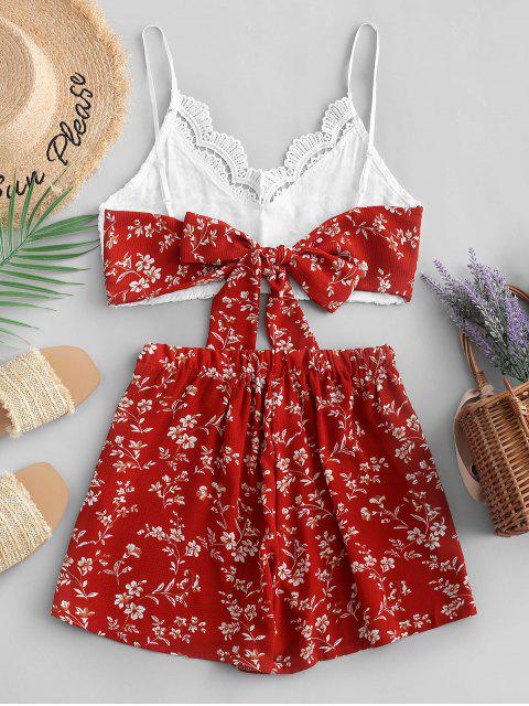hot ZAFUL Floral Print Lace Panel Cami Shorts Set - RED S Mobile