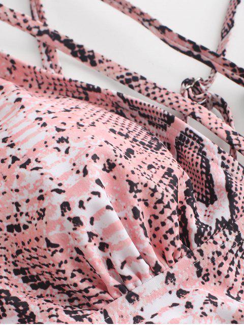 trendy ZAFUL Crisscross Strappy Snake Print Tankini Swimsuit - ROSE XL Mobile
