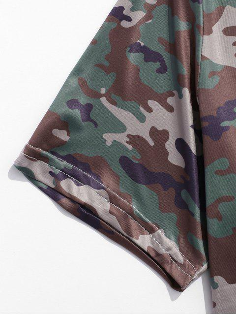 Camiseta de manga corta con cuello redondo y estampado de camuflaje - Multicolor-C M Mobile