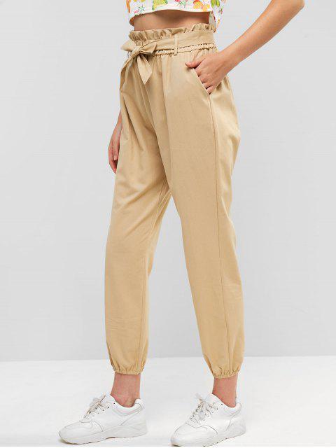 Bolsillos con cinturón Paperbag Jogger pantalones - Caqui Claro XL Mobile