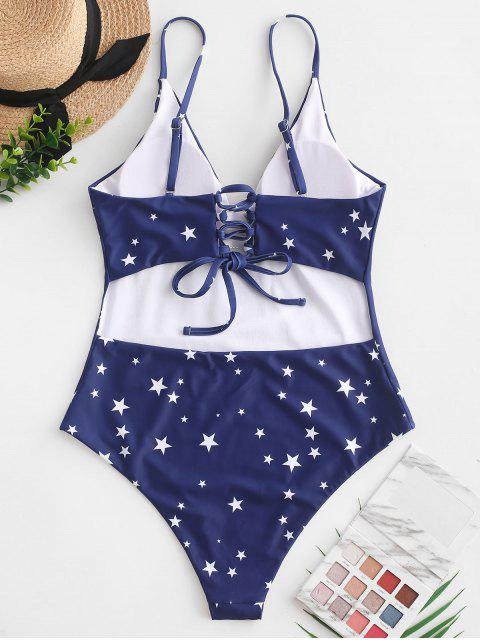 hot ZAFUL Lace-up Stars Print One-piece Swimsuit - DENIM DARK BLUE S Mobile